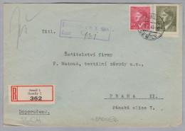 Heimat Tschechien SEMIL 1944-10-06 R-Brief Nach Praha II - Bohême & Moravie