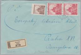 Heimat Tschechien JITSCHIN 1941-01-03 R-Brief Nach Praha XVI - Bohême & Moravie