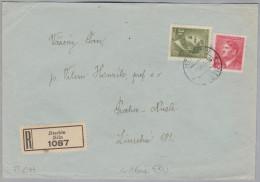 Heimat Tschechien JITSCHIN 1943-03-02 R-Brief Nach Praha-Nusle - Bohême & Moravie