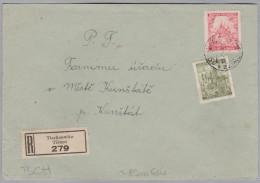 Heimat Tschechien TISCHNOWITZ 1943-08-05 R-Brief Nach Kunstadt - Bohême & Moravie