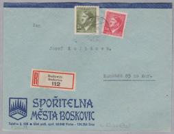 Heimat Tschechien BOSKOWITZ 1943-05-13 R-Brief Nach Kunstadt - Bohême & Moravie