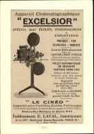 CINEMA - Publicité Tirée D'une Revue De 1926 Collée Sur Carton - Caméra De Cinéma - Excelsior - Publicités