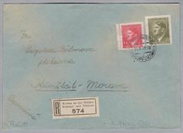 Heimat Tschechien KRALUP An Der Moldau 1943-01-14 R-Brief Nach Kunstadt - Bohême & Moravie