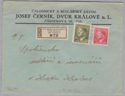 Heimat Tschechien KÖNIGINHOF An Der ELBE 1943-03-02 R-Brief Nach Hradir Kralové - Bohême & Moravie