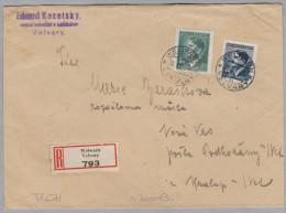 Heimat Tschechien VELVARY 1943-01-12 R-Brief - Bohême & Moravie