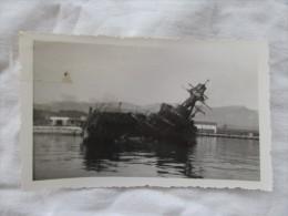 2 PHOTOS DU CROISEUR ALGERIE  APRES LE SABORDAGE DE LA FLOTTE EN 1942 A TOULON - War, Military