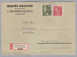 Heimat Tschechien ROTH-KOSTELETZ 1943-10-04 R-Brief Nach Kunstadt - Bohême & Moravie