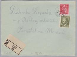 Heimat Tschechien BUDKAU 1943-01-13 R-Brief Nach Kunstadt - Bohême & Moravie