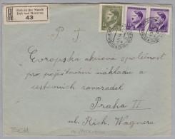 Heimat Tschechien DUB An Der MARCH 1944-04-04 R-Brief Nach Praha II - Bohême & Moravie