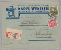Heimat Tschechien KÖNIGGRÄTZ 2 1943-02-20 Illustrierter R-Brief ( Nähemaschine ) - Bohême & Moravie