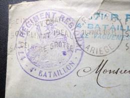 GUERRE 40 CACHET DU 171eme REGMENT REGIONAL 4eme BATAILLON FOIX ARIEGE - Marcophilie (Lettres)