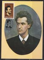 = Roumanie Carte Exposition Philatélique Suceava 25.12.81 Timbre 3352 Ciprian Porumbescu Portrait Et Partition - Maximumkarten (MC)