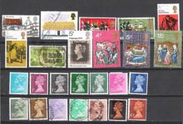 GRANDE-BRETAGNE :lot De 25 TP 1970:architecture Rurale,commémoratifs,Noêl,CH.DICKENS,série Courante Types Aq Etc... - 1952-.... (Elizabeth II)