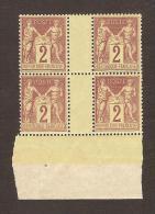 FRANCE - TYPE SAGE - YVERT N° 85 - BLOC DE 4 AVEC PONT ET BORD DE FEUILLE - NEUFS SANS TRACE DE CHARNIERE - MNH - 1876-1898 Sage (Type II)