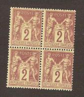 FRANCE - TYPE SAGE - YVERT N° 85 - BLOC DE 4 - NEUFS SANS TRACE DE CHARNIERE - MNH - 1876-1898 Sage (Type II)