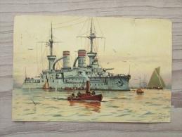 Cp/pk Schip Schiff Linienschiff Wettin Willy Stöwer - Guerre