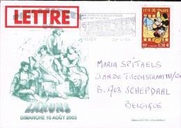 France 2004 Postal Cover Arudy - Schepdaal (Belgium) - Mickey Mouse Stamp Day - France