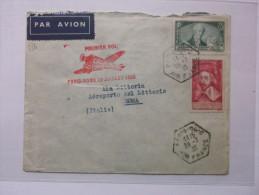 Lettre 1er Vol Flight Vuelto Paris Rome Cachet Hexagonal Paris 96-c Air France 29/7/1935 Tp 303 Et 305 - Marcophilie (Lettres)