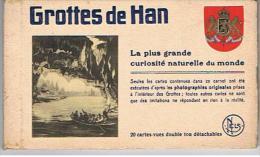 BELGIQUE   GROTTES DE HAN 20 CARTES VUES DOUBLE    DETACHABLES      Frais Port 2 € - De Haan