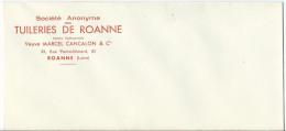 Enveloppe Des Tuilleries De Roanne - Dos Collé Par Le Temps - Non Circulée - Old Paper