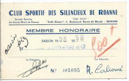 Carte De Membre Honoraire Du Club Sportif Des Silencieux De Roanne - Old Paper
