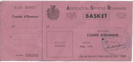 Carte De Membre Du Comité D´ Honneur Pour L´ Association Sportive Roannaise - Section Basket - Old Paper