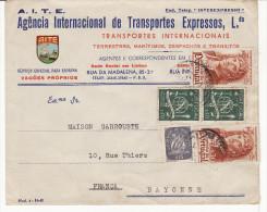 Enveloppe Portugal Pour La France (Bayonne) (Belle Entête Commerciale) (Lot LE 14) - Postmark Collection (Covers)