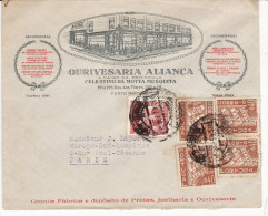 Enveloppe Portugal Pour La France (Paris) (Belle Entête Commerce) (Lot LE 16) - Portugal
