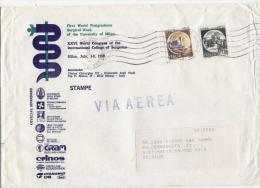 Milano 24.12.1987 - Castello L.150 + L.600 Su Busta Stampe Via Aerea Diretta In Belgio - 6. 1946-.. Repubblica