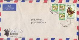 Kenya Airmail Par Avion WORLD FOOD PROGRAMME, NAIROBI 1990 Cover Brief To Denmark 5 Sh  Schmetterling Butterfly Papillon - Kenia (1963-...)