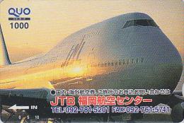 Carte Prépayée Japon - AVION - JAL / JTB - Airplane Airline Japan Prepaid Card - Flugzeug Quo Karte - 799 - Vliegtuigen