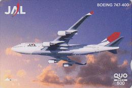 Carte Prépayée Japon - AVION - BOEING 747 / JAL - Airplane Airline Japan Prepaid Card - Flugzeug Quo Karte  Aviation 800 - Airplanes
