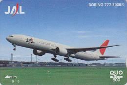 Carte Prépayée Japon - AVION - BOEING 777 / JAL - Airplane Japan Prepaid Card - Flugzeug Quo Karte - Aviation 801 - Flugzeuge
