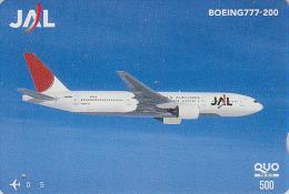 Carte Prépayée Japon - AVION - BOEING 777 / JAL - Airplane Airline Japan Prepaid Card - Flugzeug Quo Karte - 802 - Vliegtuigen