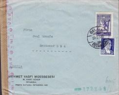 Turkey MEHMET VASFI MÜESSESESI, GALATA - ISTANBUL 1942 Cover Lettera O.K.W. German Censor Zensur !! (2 Scans) - 1921-... Republiek