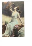 Artiste Femme Assise, Mange Grappe De Raisin - Photo Reutlinger - S.I.P. 31e Serie N°8 - Thème Mode Robe Pin'up - Femmes