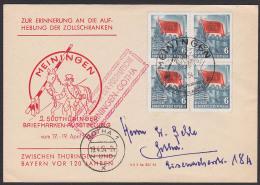 Meiningen Gotha Brief Mit 6 Pf(4) Karl-Marx-Jahr  Sonderbeförderung Mit Postkutsche 1954 Schlagbaum Zollschranken - Lettere