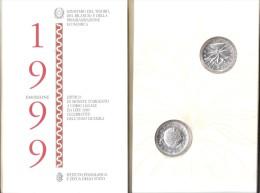 B) ITALIA LIRE 5000 + 5000 ARGENTO FDC DEL 1999 DITTICO VERSO IL 2000 LA TERRA, LA SOLIDARIETà - 5 000 Lire