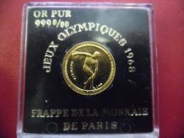 MEDAILLE En OR 1,74 Gr. 999/1000 J.O De Mexico 1968 XIX ° Olympiades Discobole - Livré Dans Son Coffret Monnaie De Paris - Francia