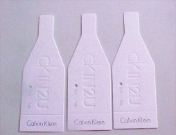3 X Singapore Perfume Cards Carte Parfumee --   CALVIN KLEIN CKIN2U - Perfume Cards