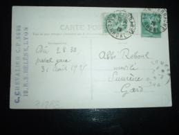 CP TP SEMEUSE 10C + BLANC 5C BORD DE FEUILLE OBL.1-9-25 LYON-PERRACHE RHONE (69) - 1900-29 Blanc