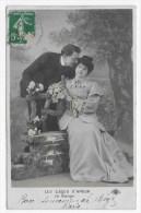 (RECTO / VERSO) LES GAGES D' AMOUR EN 1913 - LE BAISER - CACHET AMBULANT TRI FERROVIAIRE NARBONNE - Paare