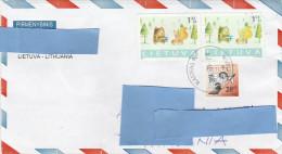 R] Enveloppe Cover Lituanie Lithuania Renard Fox Ours Bear ( Variété Variety ? ) - Lituanie