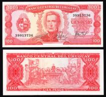 Uruguay 100 Pesos 1967 Pick 47 UNC - Uruguay