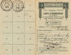 CARTE D´ABONNEMENT Pour 5 Timbres-poste Du 1.1.1948 - 1921-1960: Moderne