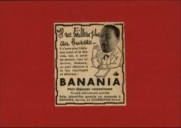 CHOCOLAT - BANANIA - Publicité Tirée D´une Revue Et Collée Sur Carton - - Publicités