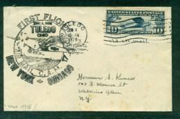 1928. 1er Vol New - York/ Chicago De Toledo - 1c. 1918-1940 Cartas