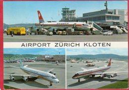 CPM SUISSE 3 Avions  à AIRPORT ZURICH KLOEN Avion DOUGLAS DC 9 ... - 1946-....: Moderne