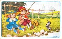 3774.  Bambini - Girl - Boy - Pesca - Fish - Bertiglia -1948 - Casa Penale Soriano Nel Cimino Viterbo - FP -small Format - Bertiglia, A.