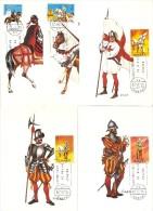 1973 COLECCION DE 5 POSTALES UNIFORMES MILITARES Nº 2139 A 2143  ( PRIMER DIA DE CIRCULACION) MILITAR-CABALLO-HORSE - Tarjetas Máxima